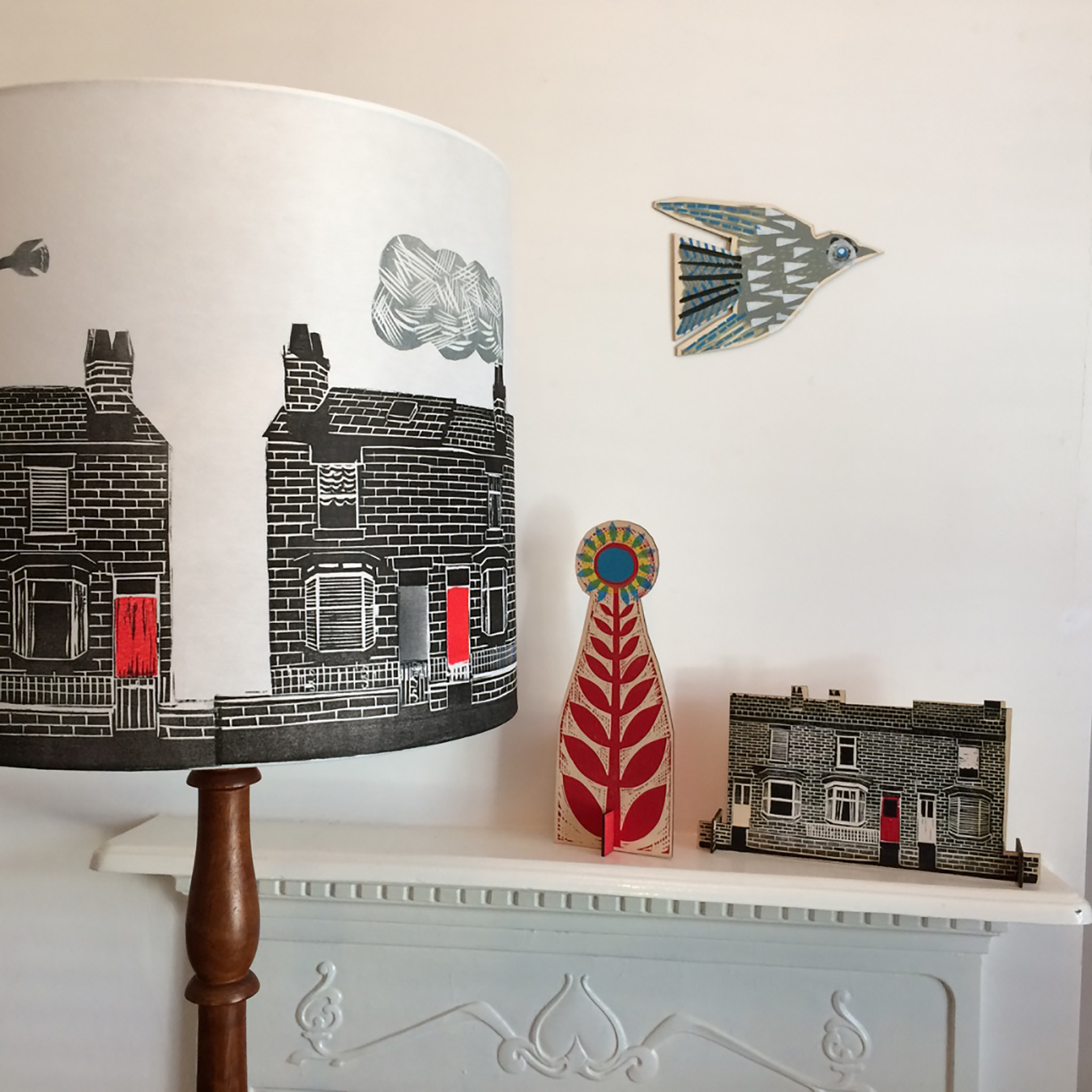 'Lampshade, Terraced house and Flying bird' Linocut ...